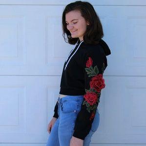 Black & Rose hoodie crop top